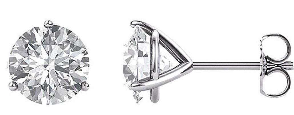 14kt White 7.5 mm Round Forever One Colorless Created Moissanite 3 prong Earrings
