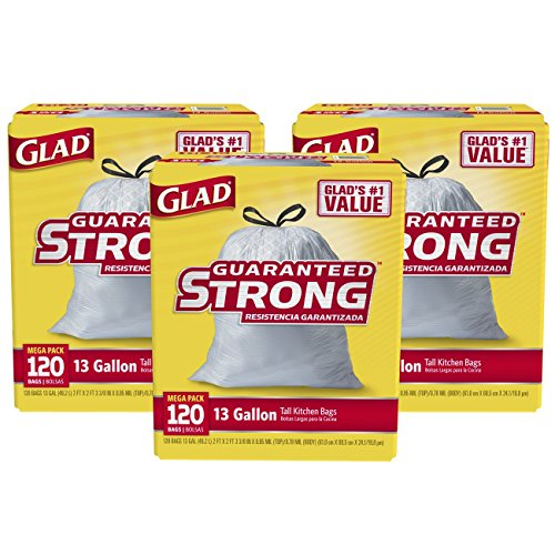 Glad Tall Kitchen Drawstring Trash Bags, 13 Gallon, 120 Count (Pack of 3)