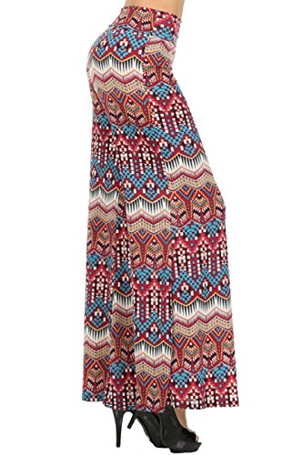 2LUV Plus Women's High Waisted Plus Palazzo Pants Red & Blue 3XL (P215)