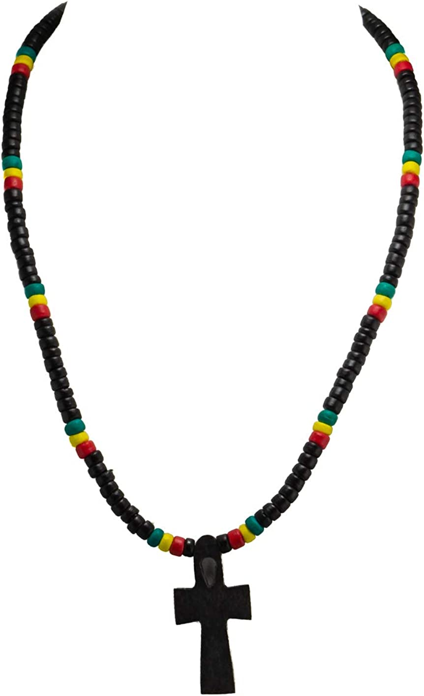 BlueRica Black Wood Ankh Cross of Life Pendant on Rasta Coconut Beads Necklace