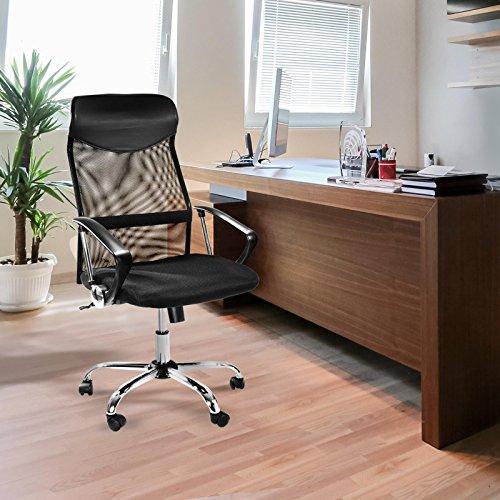 Ergonomischer Design Bürostuhl mit Kopfstütze, Netzrücken, Wippfunktion & Armlehne - 2