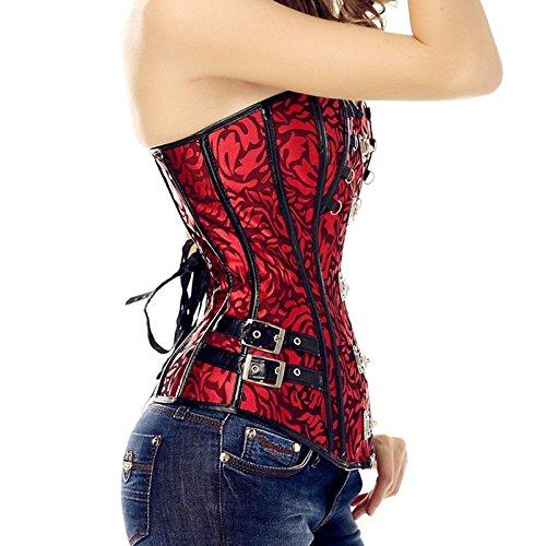 ZAMME Mujeres Steampunk Gothic Encaje Deshuesado Overbust Corset Bustier Clubwear Body Shaper Rojo