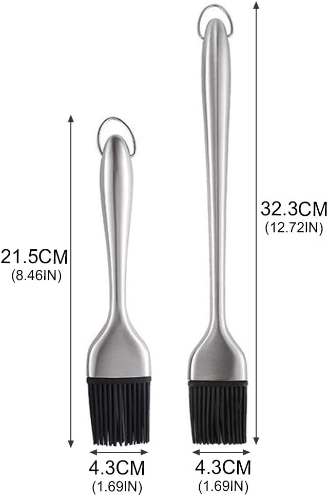 Stainless Steel Pastry Basting Grill Brush Set for Oil Sauce Cooking KABOER BBQ Brush with 2 Back up Silicone Brushes