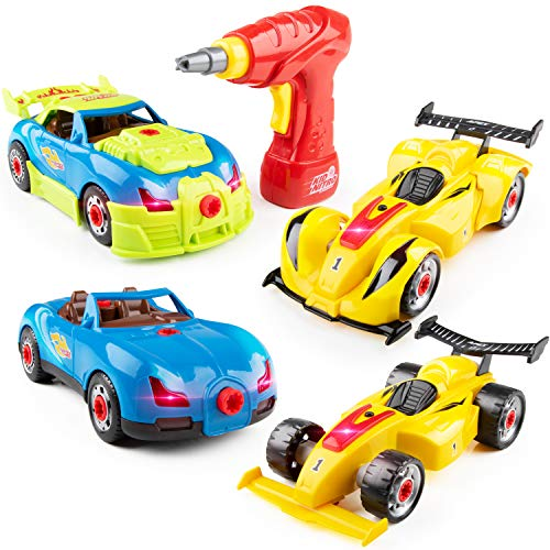 (USA Toyz Race Car Take Apart Toys - 52pk Build a Car STEM Building Toys Set, Take Apart Car Building Kits for Kids w/ Car Drill Tool for Boys or Girls)