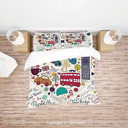 (FashSam Luxury 4 Pieces Duvet Cover Bedding Set Colorful Symbols Red Bus Big Ben Tea Umbrella Hat Retro Black Cabin in a Heart Print for Family(Queen))