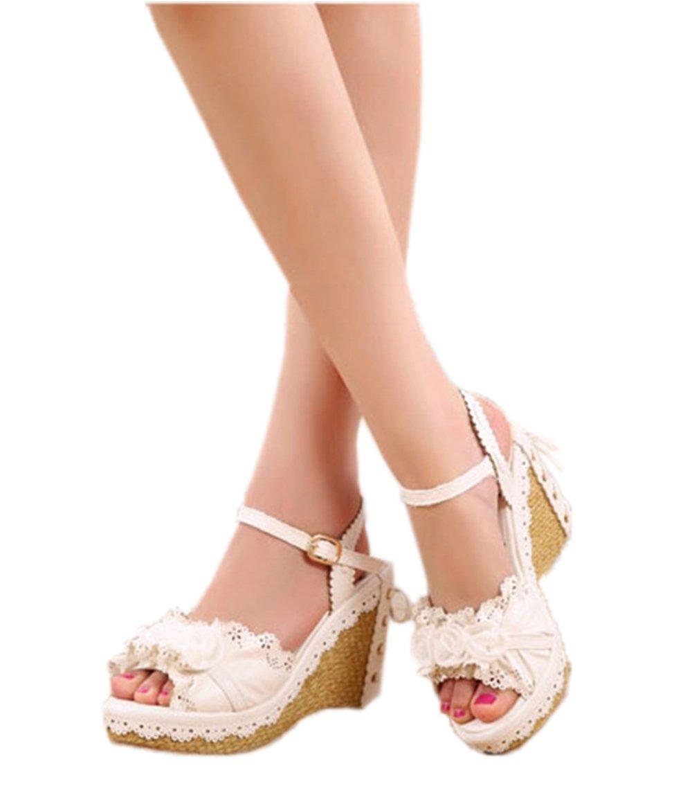 Nuoqi Womens Lolita Sweet Rose Flower Pink High Heel Slingback Wedges Sandals B0739ZYRT6 3.5|Rose-white