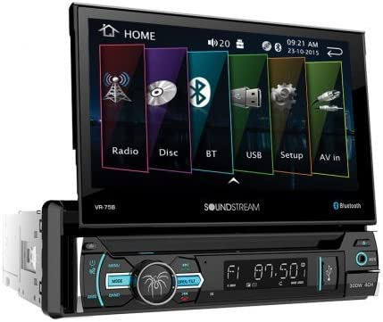Soundstream VR-75B Single DIN Bluetooth in-Dash DVD//CD//AM//FM Car Stereo Receiver with 7 Foldout Touchscreen