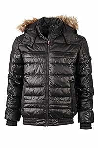 James & Nicholson Men's JN1084 Padded Winter Puffer Jacket black XL