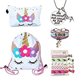 Unicorn Gifts Set for Girls | Unicorn Accessories for Teen with Drawstring Backpack - Makeup Bag - Bracelet - Inspirational Necklace and Hair Ties | Unicorn Stuff Items for Sister