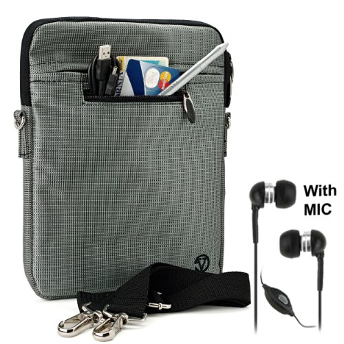 Silver Gray Mighty Nylon Jacket Slim Compact Protective Sleeve Shoulder Bag Case with accessories For Motorola XOOM Android Tablet (Compatible with All Versions of 10 inch Xoom Devices) + Includes a Crystal Clear HD Noise Filter Handsfree with Mic and (Motorola Usb Mic)