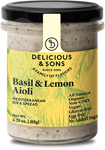 Delicious & Sons Organic Garlic Aioli with Basil & Lemon 6.35 oz....