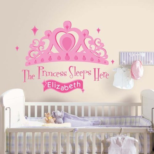 (RoomMates Princess Sleeps Here Peel and Stick Giant Wall Decal with Personalization)