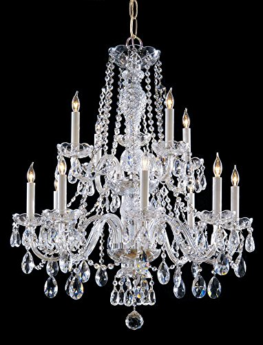 (Polished Brass Traditional Crystal 12 Light Candle Style Crystal Chandelier )