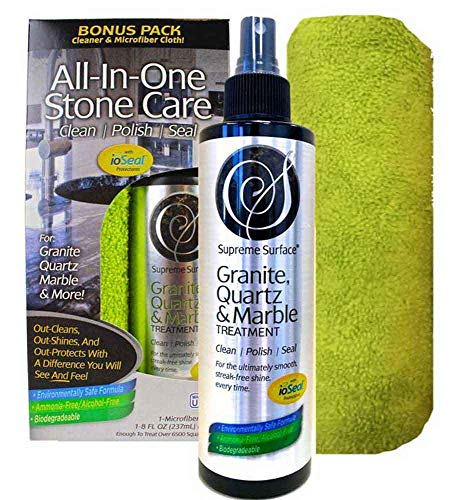 Supreme Surface Granite & Quartz, Cleaner, Polish and Sealer with ioSeal Protectants (Best Granite Polish And Sealer)