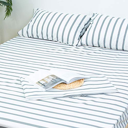 Homelike Collection 4 Piece Striped Bed Sheet Set (Full Size,White/Grey) Classic Pattern Sheets 1 Flat Sheet,1 Fitted Sheet and 2 Pillow Cases,Brushed Microfiber Luxury Bedding with Deep - 1 Sheet Stripe
