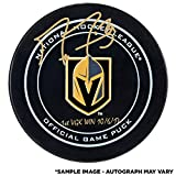 Marc-Andre Fleury Vegas Golden Knights Autographed Official Game Puck with 1st VGK Win 10/6/17 Inscription - Fanatics Authentic Certified