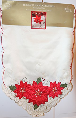 (Homewear 7270-534 Poinsettia Trio Runner Ivory)