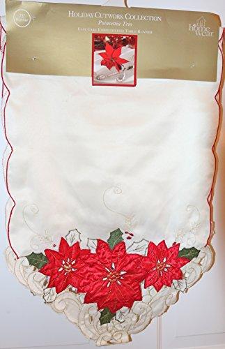 Homewear 7270-534 Poinsettia Trio Runner Ivory