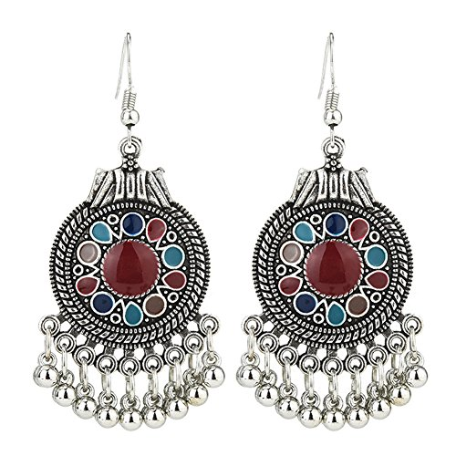 Infgreate Retro Ethnic Round Enamel Pendant Tassels Hook Earrings Beautiful And Lovely Jewelry Women Party Jewelry Red