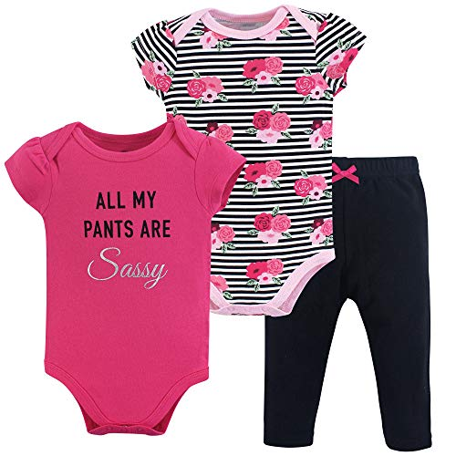 Little Treasure Baby Bodysuit, Sassy Pants 3 Piece Set 3-6 Months (6M) ()