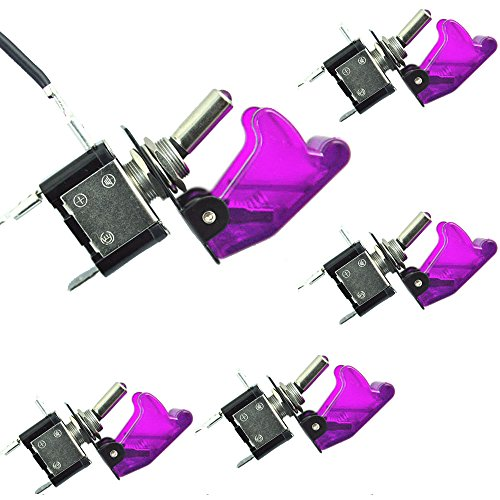 ESUPPORT Car Purple Cover Purple LED Toggle Switch Pack of 5