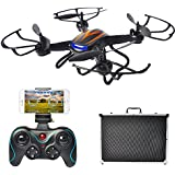 FPV Quadcopter Drone with 720P Camera, Mysterystone F181W WiFi Drones with Portable Carrying Case and Extra 3 Batteries (Black)