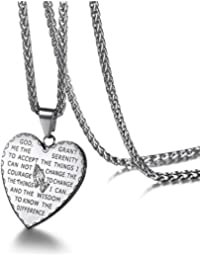 Praying Hands Necklace Engraved with Christian Bible...
