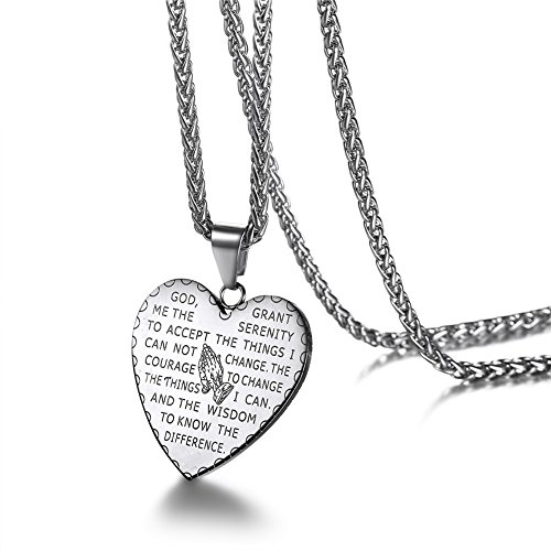 - U7 Simple Heart Praying Hands Bible Verse Necklace with Stainless Steel Chain 26