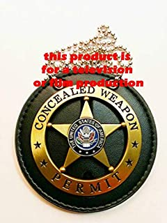 TV //Movie prop pin back of Armed Citizen on holder with belt clip /&neck chain