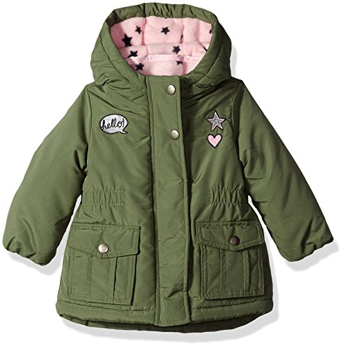 - Osh Kosh Baby Girls 4-in-1 Midweight Systems Jacket, Spinach/Pink Star/Grey, 12M