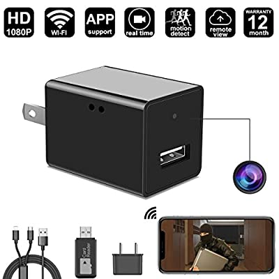 WIFI Spy Hidden Camera Wall Charger Camera By DigiHero - 1080P WiFi Remote View - Alarm System - Charging Phones - Can Charge Phone While Recording.Support iPhone / Android App
