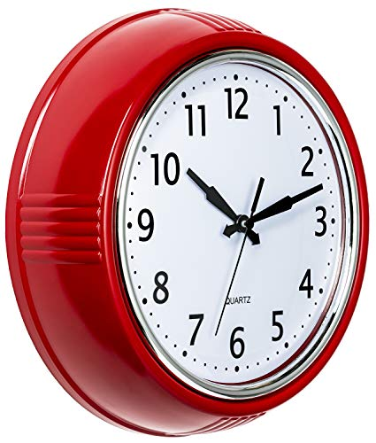 (Bernhard Products Retro Wall Clock 9.5 Inch Red Kitchen 50's Vintage Design Round Silent Non Ticking Quality Quartz Clock)