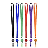 Mudder Translucent Retractable Badge Holder Reel Key Chain Reel with Lanyard Neck Strap for Key Cards and ID Cards, 6 Pieces