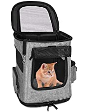 SlowTon Pet Carrier Backpack for Small Dog Cat, Airline Approved with Mesh Windows Locking Clasps Leash Portable Carrying Bag Small Puppies Rabbits Up to 16lbs Travel Outdoor Use
