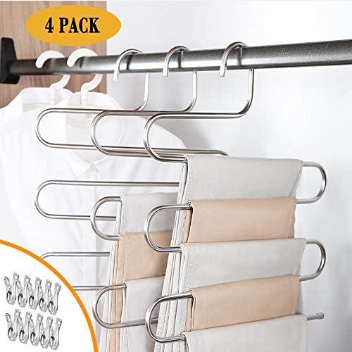 IDEALCRAFT パンツハンガー スカーフハンガー 5層 省スペース ステンレススチール 衣類オーガナイザー クリップ10個付き S型 (4パック)