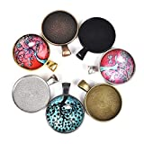 70 Pieces 7 Colors Pendant Trays Round Bezel Blanks for Jewelry Making, Metal Alloy Cabochon Round Dome-25 mm/1 inch Diameter (Colorful) for Crafting DIY Photo Pendant