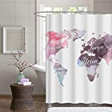 custom shower curtains  Map Fabric Shower Curtain - Custom Pink Seven Continents Pattern on White Polyester Bathroom Stall Shower Curtain, Water Repellent Mildew Resistant, 60''W x 72''L