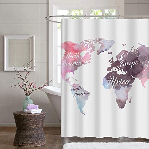 Map Fabric Shower Curtain - Custom Pink Seven Continents Pattern on White Polyester Bathroom Stall Shower Curtain, Water Repellent Mildew Resistant, 60''W x 72''L