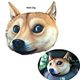 October Elf Car Pillow Head Neck Travel Seat Pillow 3D Animal 12.210.6inch (Akita Dog)