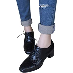 e75f6c4421 Women's Chunky Heel Lace-Up Ankle Booties Oxford Shoes Mid Heel Ankle  Booties Dress Shoes