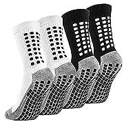 Emooqi Men's Anti-slip Sports Socks, Breathable Athletic Rubber Grip Socks, Football Basketball Baseball Socks, 2 Pairs…