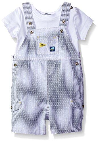absorba Baby Boys Shortall Sets, Blue/White, 0/3