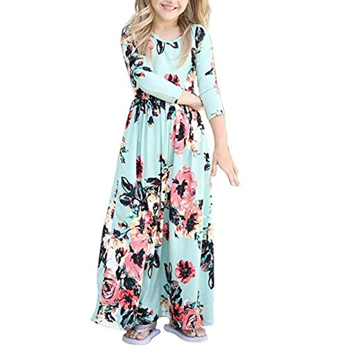 QIJOVO Girl Floral Maxi Dress with Pockets Sleeves Long Holiday -