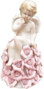 LIUSHI Ceramic Angel Statue, Garden Angel Sculpture Model Happy Angel Fantasy Garden Fun Collection Decorations