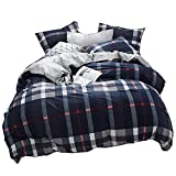 karever Kids Boys Girls Bedding Sets Twin Size Duvet Cover Set 100% Cotton Navy Blue Plaid with Red Lines Checkered Grid Lightweight Gift 3 PCS 1 Comforter Cover 2 Envelope Pillowcases Men Woman