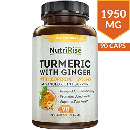 Turmeric Curcumin Supplement with Ginger & BioPerine Black Pepper Extract – Best Joint Pain Relief, Anti-Inflammatory, Antioxidant & Anti-Aging Support. Non-GMO, Vegan & Gluten-Free Turmeric Capsules