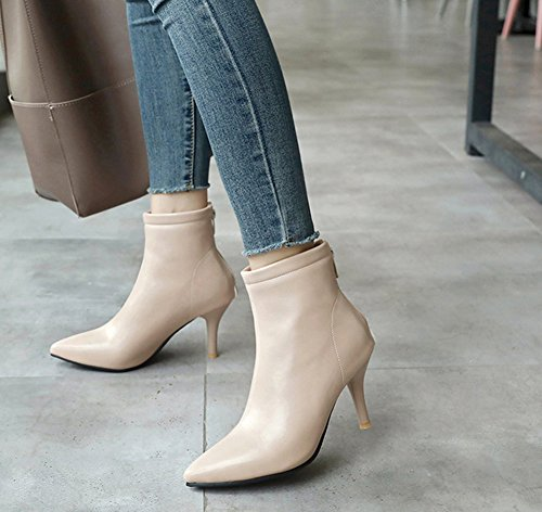 Couleur Simple Unie Eclair Pointu Fermeture Bottines Femme Aisun Beige Bout YwF11q