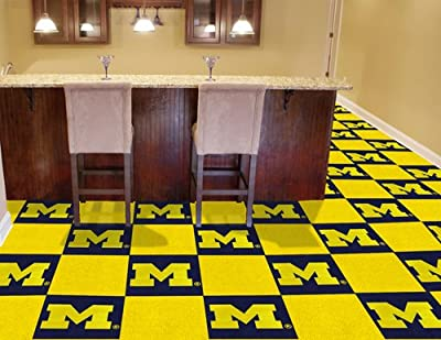 FANMATS NCAA University of Michigan Wolverines Nylon Face Team Carpet Tiles