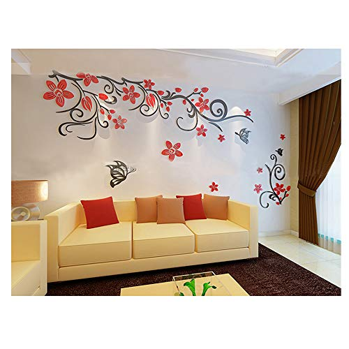 Cheap  Alrens(TM)Romantic Flower Vine 3D Stereo Acrylic Wall Stickers Bedroom Living Room Sofa..