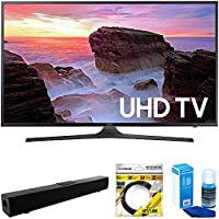 Samsung 43 4K Ultra HD Smart LED TV 2017 Model (UN43MU6300FXZA) with Solo X3 Bluetooth Home Theater Sound Bar, 6ft High Speed HDMI Cable Black & Universal Screen Cleaner for LED TVs